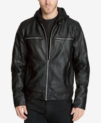 280 new guess men s black faux leather moto hooded jacket winter coat size l
