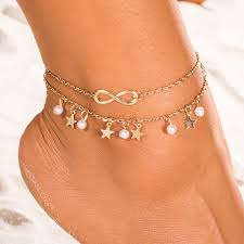 Anklet Design Aliutom New Anklet Design Double Anklet Bracelet Star Pearl 8 Anklet Foot Decoration Fashion Ms Jewelry Summer Charm Anklet