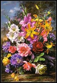 Details About A Vase Of Flowers Chart Counted Cross Stitch Patterns Needlework Embroidery