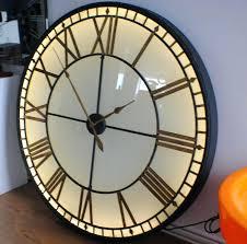 extra large clock vintage style illuminated light skeleton wall with black roman numerals outdoor clocks uk