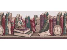 Taupe Scalloped Books Wallpaper Border