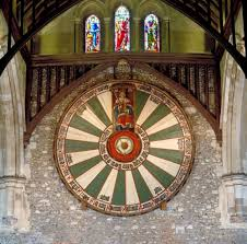 arthurian round table 11th century replica of king arthur s round table artifact naming 24 grand officers in the great hall of winchester cathedral