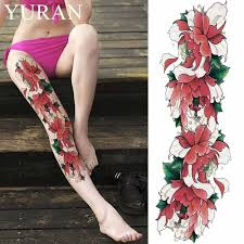 Sexy Watercolor Lotus Flower Temporary Tattoo Stickers Girls Full Leg Body Art Tattoo Women Beach Arm Flash Fake Tatto Shoulder