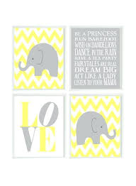 grey and yellow nursery elephant nursery art chevron wall art gray yellow nursery baby girl wall