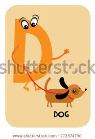 D Dog Alphabet Flashcards Template Baby Stock Vector Royalty Free
