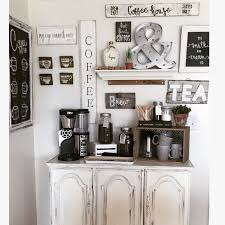 coffee bar made from an old china cabinet bottom with all handmade signs built coffee bar makeover