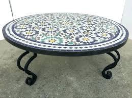 Round outdoor coffee table Designer Mosaic Outdoor Coffee Table Round Tile On Iron Base For At Ebay Williambubenikinfo Table Mosaic Coffee Table
