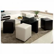 square glass top small coffee table with black and white ottomans under
