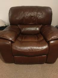 3 seater 2 seater and 1 seater real leather recliner sofas in good condition
