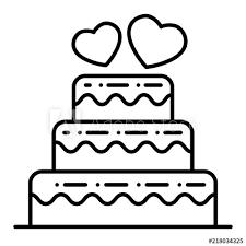 Layered Wedding Cake Thin Line Icon Wedding Cake Vector