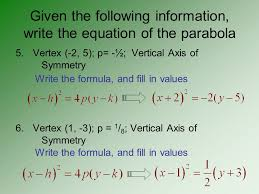 decide whether the parabola has vertical or horizontal axis of symmetry and tell which way