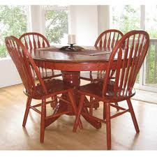 modern round wooden dining table set