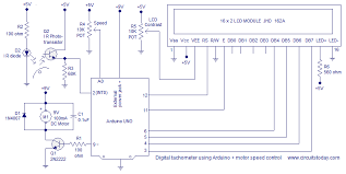 digital tachometer using arduino plus motor speed control circuit arduino tachometer