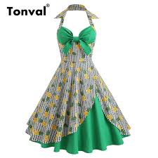 Us 20 52 44 Off Tonval Sexy Pin Up Girls 1950s Halter Dress Pineapple Print Green Dresses Women Plaid Retro Party Retro Dress In Dresses From