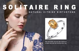 <b>JewelryPalace Oval</b> 1.1ct <b>Natural</b> Citrine Birthstone Solitaire Ring ...