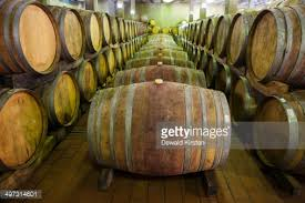 oak wine barrels. wide angle view of oak wine barrels full aging red western cape province south africa stock photo getty images
