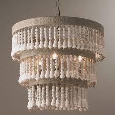 three tiered wood beaded chandelier shades of light