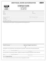 Additional Work Authorization Form Unique Order Construction