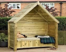 enclosed extra wide wooden arbor seat design