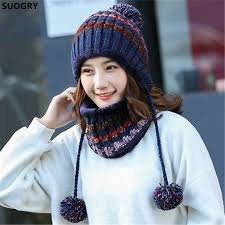 2pcs/Set 2017 New Big pom poms Ball Knitted Cap Hats Scarf Hat ...