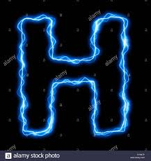 Blue Letters Electric Lightning Or Flash Font With Blue Letters On Black