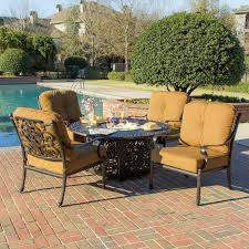 lakeview outdoor designs evangeline 5 piece cast aluminum patio deep seating with fire pit
