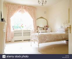 Pink And Cream Bedroom Pink Toile De Jouy Curtains On Window In Cream Country Bedroom