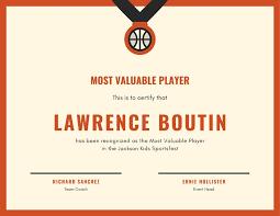 Basketball Mvp Award Certificate Templates By Canva