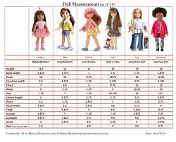 American Doll Size Chart Doll Measurements Chart American Doll Clothes Doll