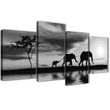 oversized large black white african sunset elephants canvas wall art print multi 4 set 130cm wide display gallery item 1  on african elephant canvas wall art with large black white african sunset elephants canvas wall art print