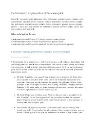 Sample Employee Self Review Answers Performance Appraisal