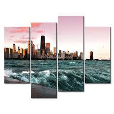 3 piece wall art painting chicago and lake michigan picture print on canvas city 4 5 the picture home decor oil prints in painting calligraphy from home