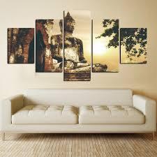 canvas painting children s room framework 5 panels buddha decoration printed posters modular sunrise landscape pictures