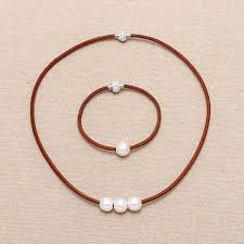 aobei pearl handmade jewelry set with freshwater pearl and leather cord pearl jewelry ets s130