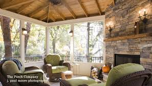 enclosed porch with fireplace and knee wall
