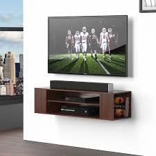 fitueyes wood floating wall mount tv stand media console modern storage cabinet 1 of 7only 4 available