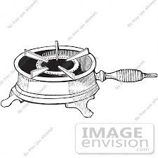 stove clipart black and white. #61353 retro clipart of a vintage antique single burner gas stove for boiling in black and white e