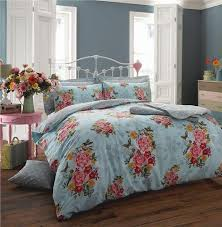 bright teal vintage style rose duvet set double quilt cover bed set