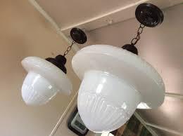 vintage pair large acorn pendant lights milk glass art deco vintage 1910s