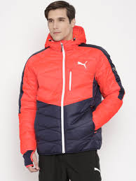 Buy PUMA Neon Orange & Navy Colourblocked Quilted Hooded Jacket ... & Buy PUMA Neon Orange & Navy Colourblocked Quilted Hooded Jacket - Jackets  for Men 1568372 | Myntra Adamdwight.com