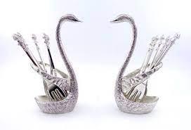 german silver swan fruit fork set