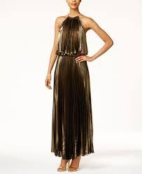Msk Dresses Size Chart Msk Pleated Metallic Blouson Halter Dress Dresses Gold