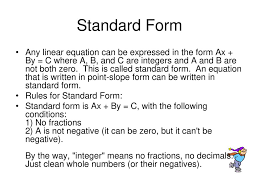 rules for standard form