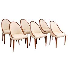 set of 6 six french art deco gondola dining chairs in mahogany 1 art deco dining 6
