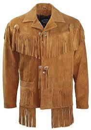 details about men s brown leather western wear suede leather fringe jacket cowboy leather coat