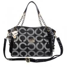 Coach Chain Logo In Monogram Medium Black Totes BOG