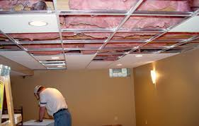 Plain Basement Drop Ceiling Tiles How To Install Acoustic Click Intended Perfect Ideas