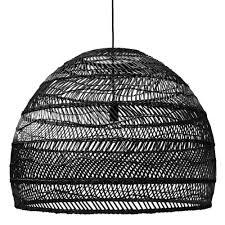 Large Wicker Pendant Light Hanging Ball Lamp Black Wicker Large Hk Living
