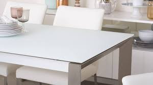 white tempered frosted glass extending dining table