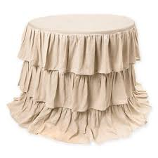 chic and creative 90 inch round tablecloth from bed bath beyond belle ruffle in natural